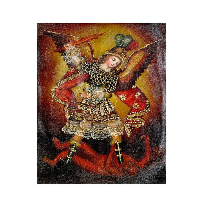 "Archangel Michael Original Colonial Cuzco Peru Folk Art Oil Painting On Canvas 10"" x 8"" (30-100-07223)"