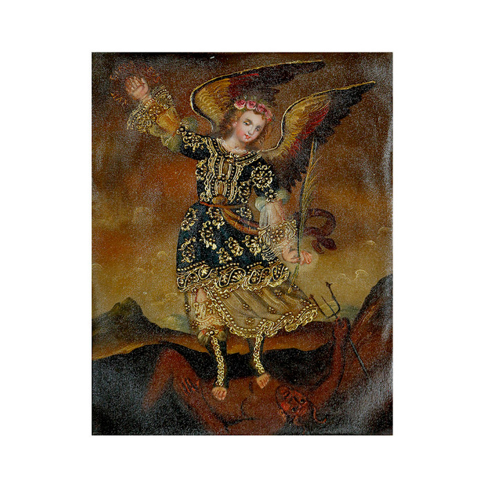"Archangel Michael Original Colonial Cuzco Peru Folk Art Oil Painting On Canvas 10"" x 8"" (30-100-07224)"