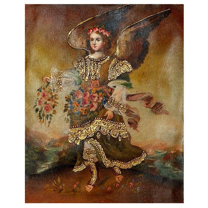 "Archangel Barachiel Original Colonial Cuzco Peru Folk Art Oil Painting On Canvas 10"" x 8"" (30-100-07256)"