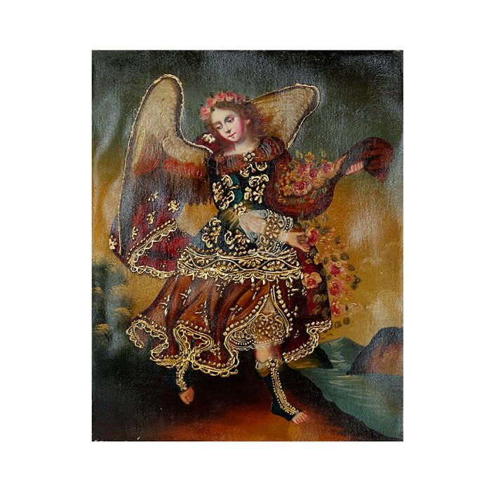 "Archangel Barachiel Original Colonial Cuzco Peru Folk Art Oil Painting On Canvas 10"" x 8"" (30-100-07257)"