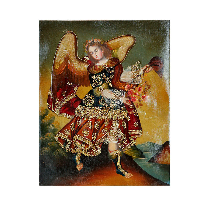 "Archangel Barachiel Original Colonial Cuzco Peru Folk Art Oil Painting On Canvas 10"" x 8"" (30-100-07258)"