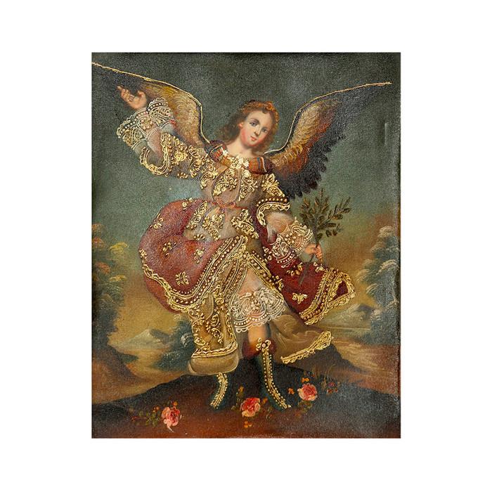 "Archangel Ariel Original Colonial Cuzco Peru Folk Art Oil Painting On Canvas 10"" x 8"" (30-100-07265)"