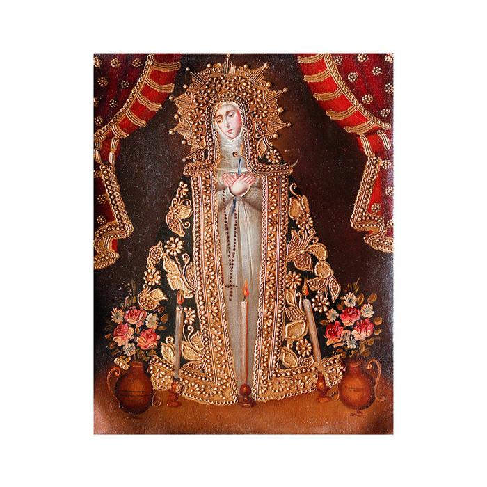 "Our Lady Of Sorrows Original Colonial Cuzco Peru Folk Art Oil Painting On Canvas 10"" x 8"" (30-100-07295)"