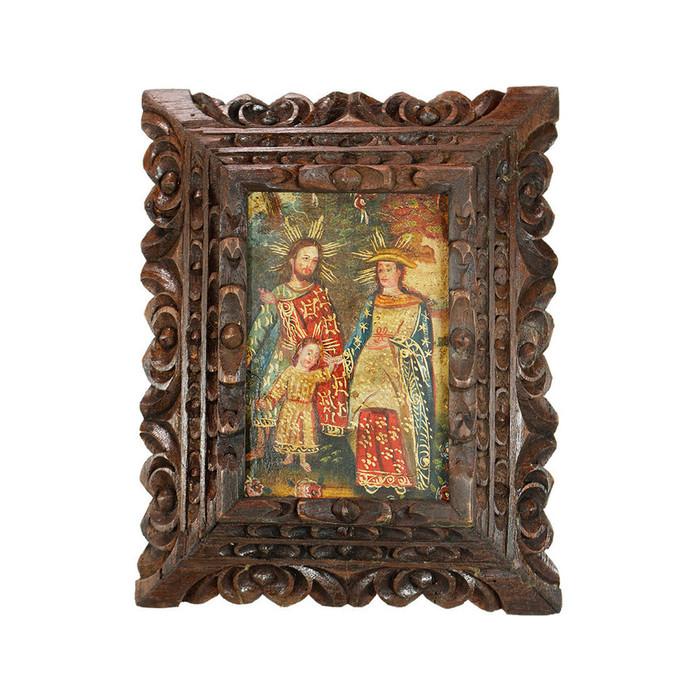 Sacred Family - Framed Handcarved Original Colonial Cuzco Peru Folk Art Oil Painting on Canvas (86-014-02377)