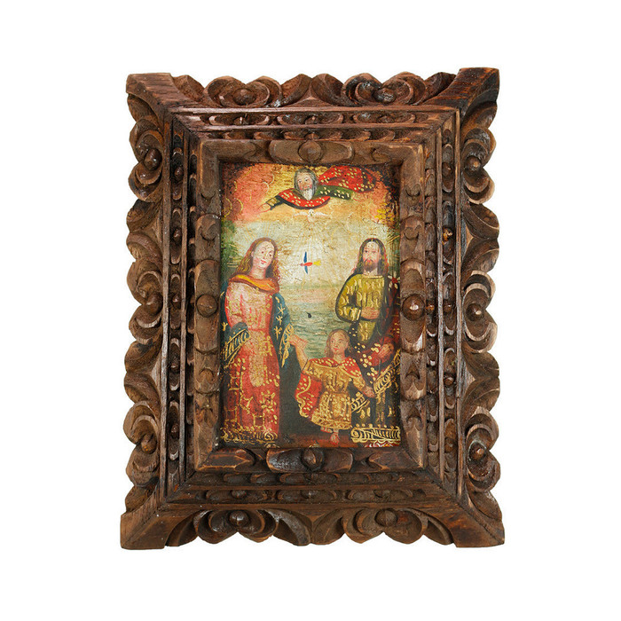 Sacred Family - Framed Handcarved Original Colonial Cuzco Peru Folk Art Oil Painting on Canvas (86-014-02378)