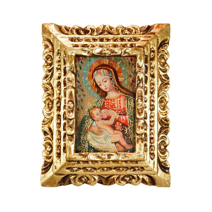 Milk Virgin Framed Handcarved Original Colonial Cuzco Peru Folk Art Oil Painting on Canvas (86-021-02379)