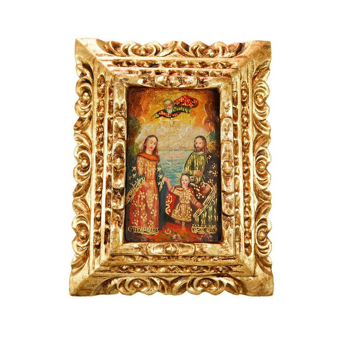 Sacred Family - Framed Handcarved Original Colonial Cuzco Peru Folk Art Oil Painting on Canvas (86-021-02380)