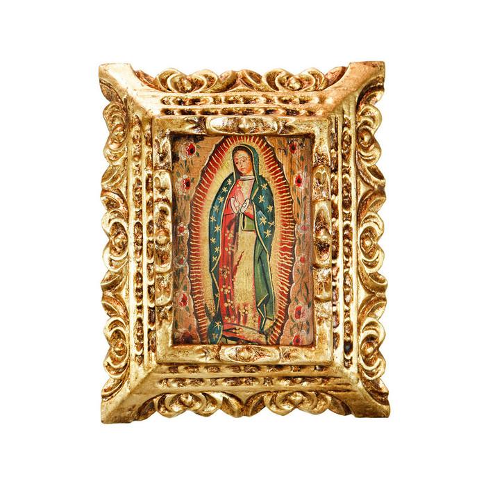 Guadalupe Virgin Framed Handcarved Original Colonial Cuzco Peru Folk Art Oil Painting on Canvas (86-021-02381)
