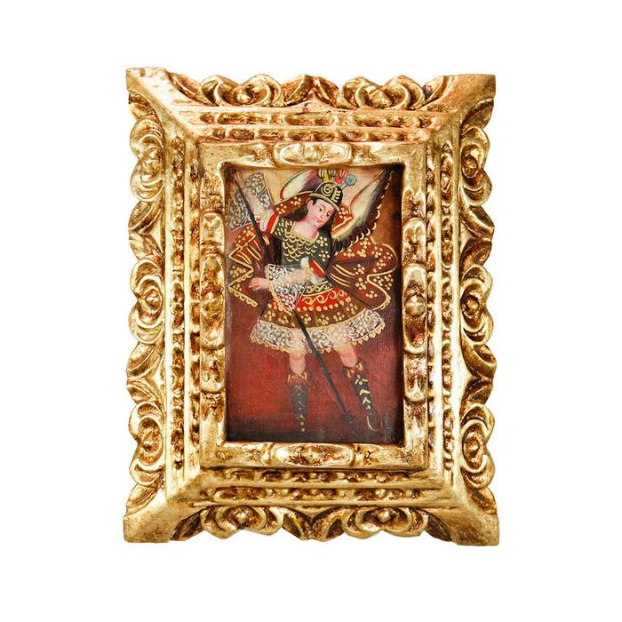 Archangel Michael Framed Handcarved Original Colonial Cuzco Peru Folk Art Oil Painting on Canvas (86-021-02383)