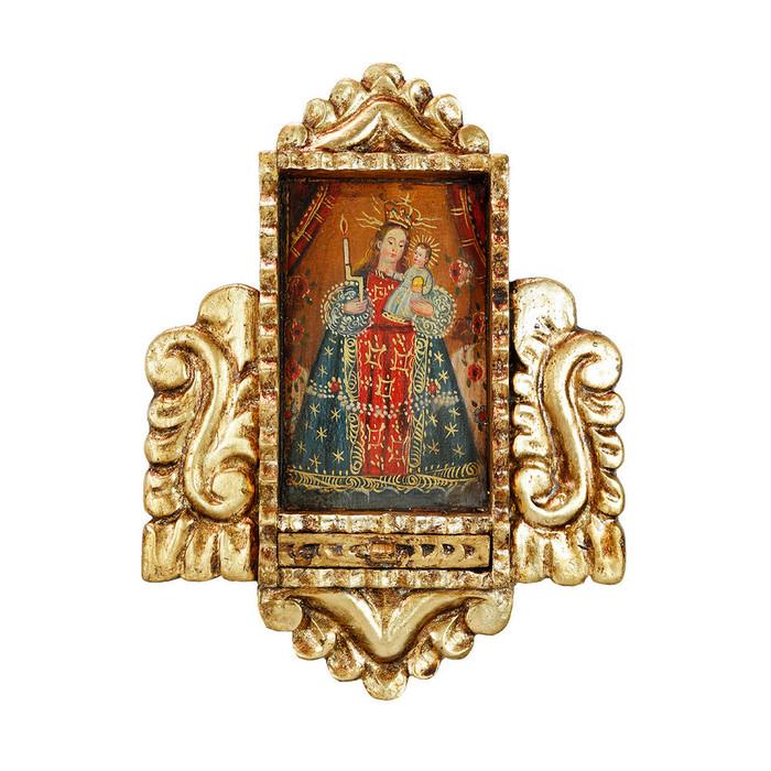 Virgin And Child Colonial Peru Handmade Retablo Religious Handcarved Altarpiece (71-021-04527)