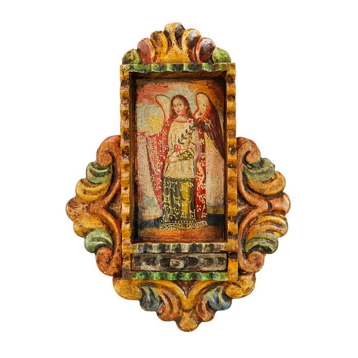 Archangel Gabriel Colonial Peru Handmade Retablo Religious Handcarved Altarpiece (71-100-04516)
