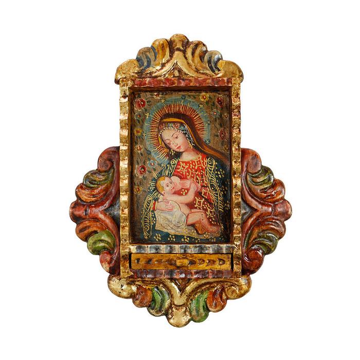 Milk Virgin Colonial Peru Handmade Retablo Religious Handcarved Altarpiece (71-100-04518)