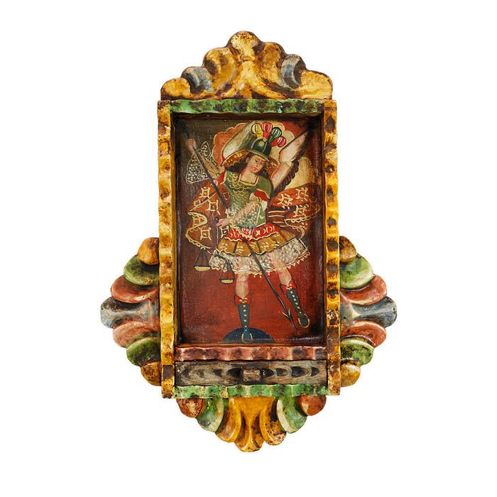 Archangel Michael Colonial Peru Handmade Retablo Religious Handcarved Altarpiece (71-100-04521)