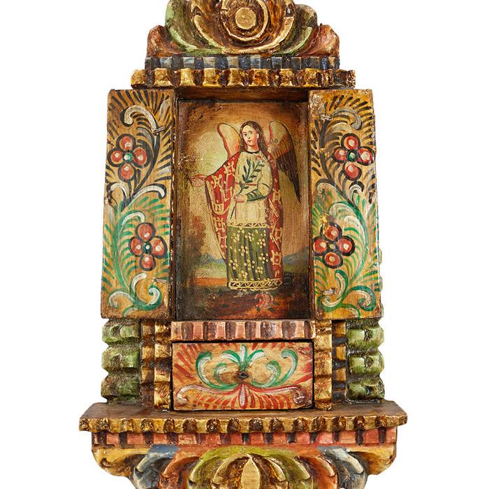 Archangel Gabriel Colonial Peru Handmade Retablo Religious Handcarved Altarpiece (71-100-04540)