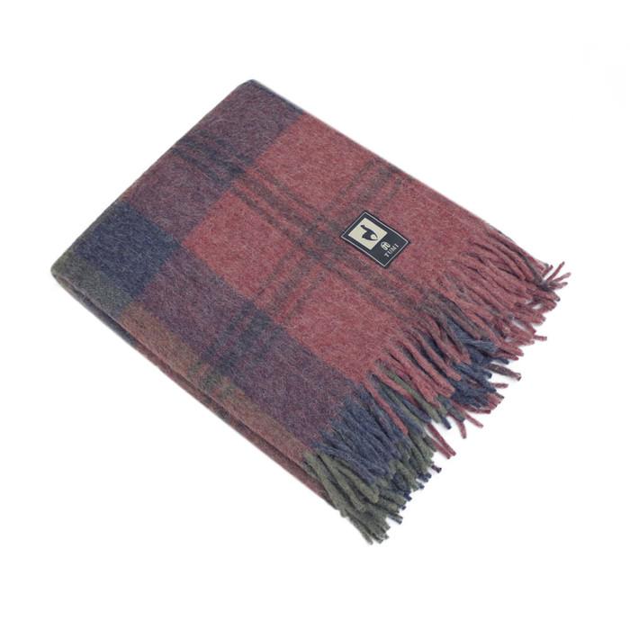 Alpaca Merino Wool Throw Blanket Warm Soft Three Stripes Design Red/Navy Blue/Green