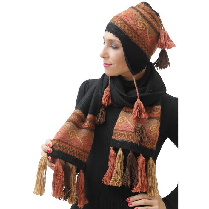 100% Alpaca Wool Soft And Warm Handknitted Intarsia Chullo Hat & Scarf Set Ocher/Brown