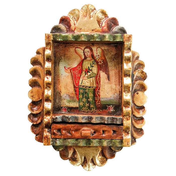 Archangel Gabriel Colonial Peru Handmade Retablo Religious Handcarved Altarpiece (71-100-04546)