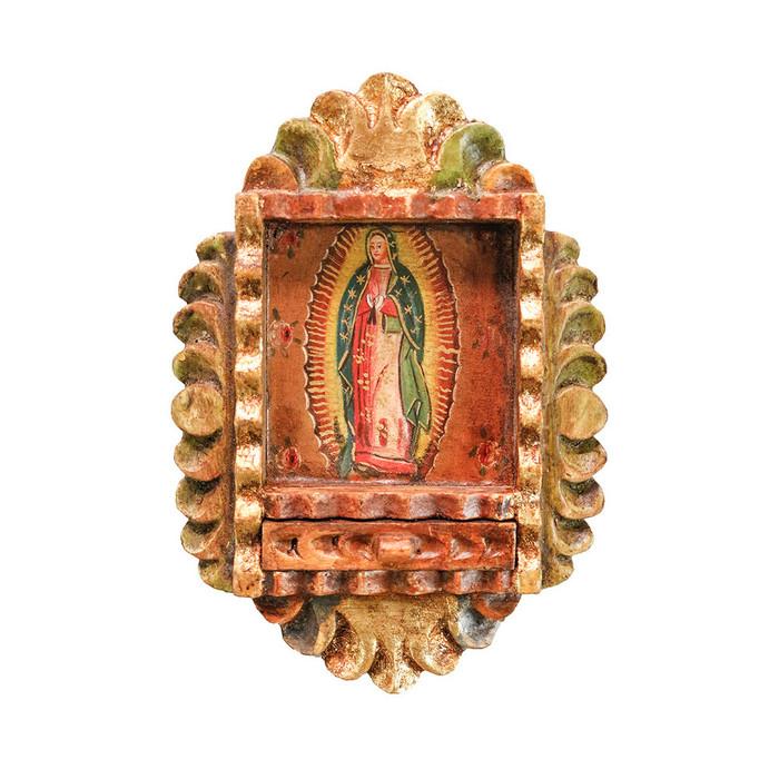 Guadalupe Virgin Colonial Peru Art Handmade Retablo Handcarved Altarpiece (71-100-04548)