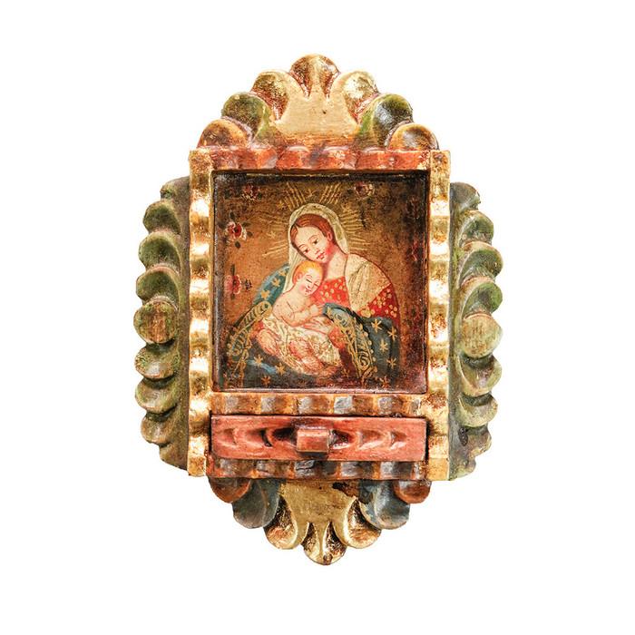 Virgin and Child Colonial Peru Art Handmade Retablo Handcarved Altarpiece (71-100-04551)
