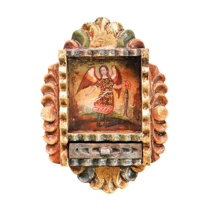 Archangel Raphael Colonial Peru Art Handmade Retablo Handcarved Altarpiece (71-100-04555)