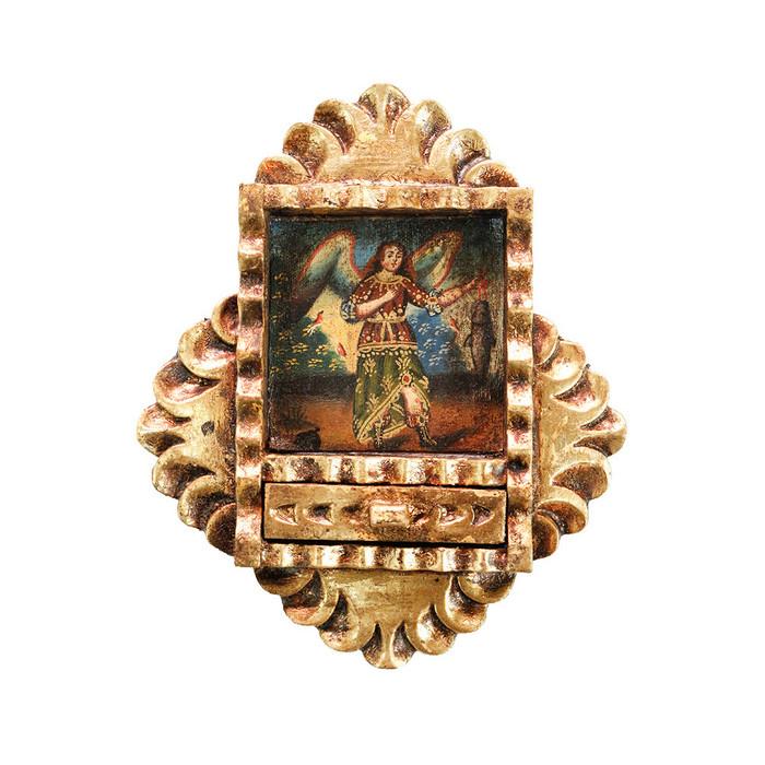 Archangel Raphael Colonial Peru Art Handmade Retablo Handcarved Altarpiece (71-021-04556)