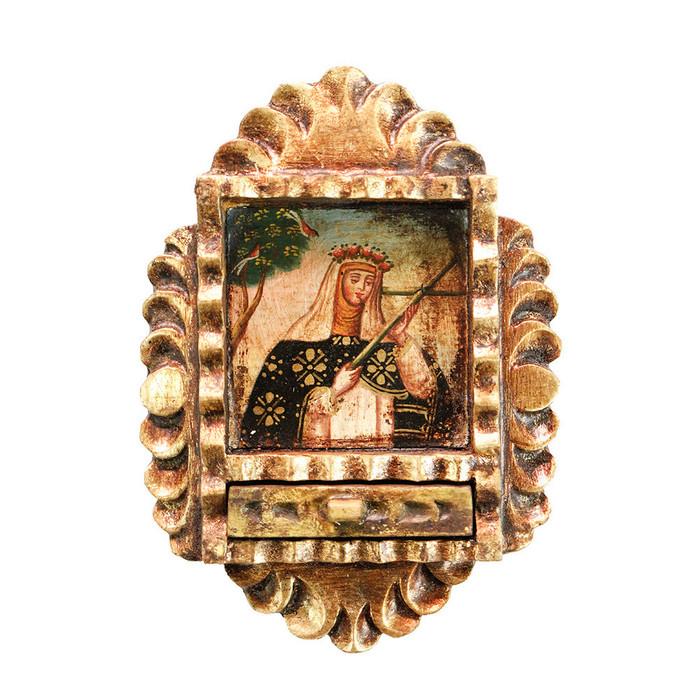 Saint Rose of Lima Colonial Peru Art Handmade Retablo Handcarved Altarpiece (71-021-04557)