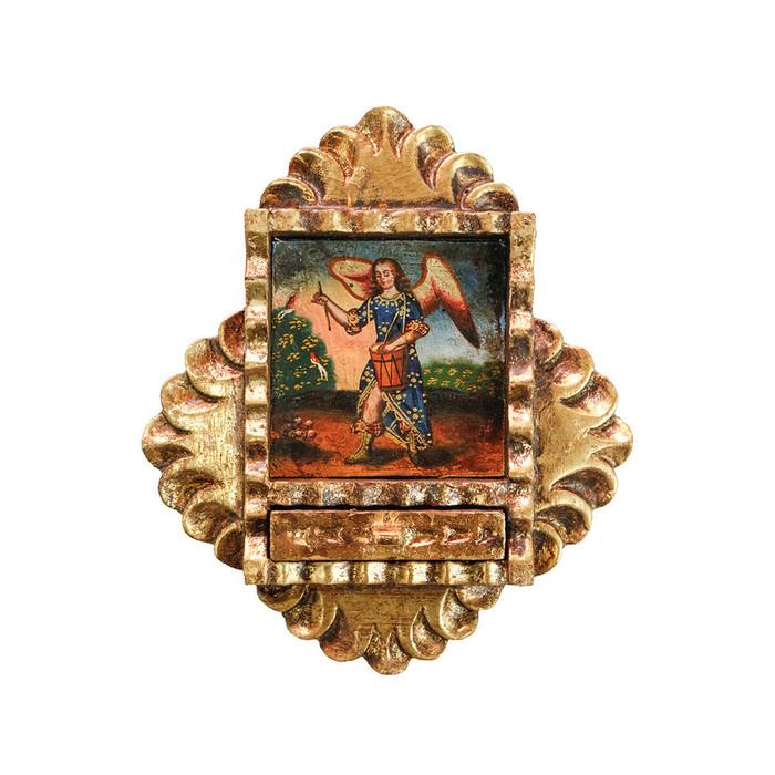 Musician Archangel Colonial Peru Art Handmade Retablo Handcarved Altarpiece (71-021-04558)