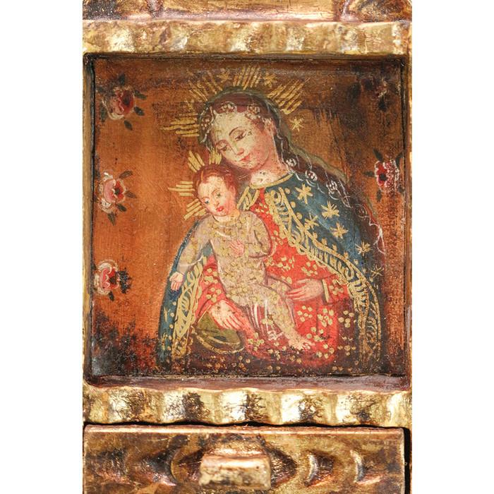Virgin and Child Colonial Peru Art Handmade Retablo Handcarved Altarpiece (71-021-04560)