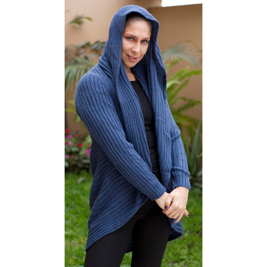 Alpaca Wool Coat Steel Blue SZ L