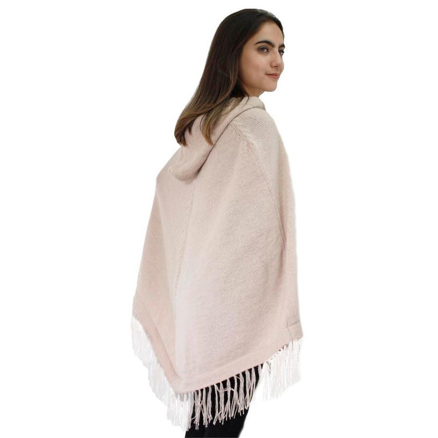 Hooded Alpaca Wool Womens Knit Long Poncho One Size Beige (32T-001-203)