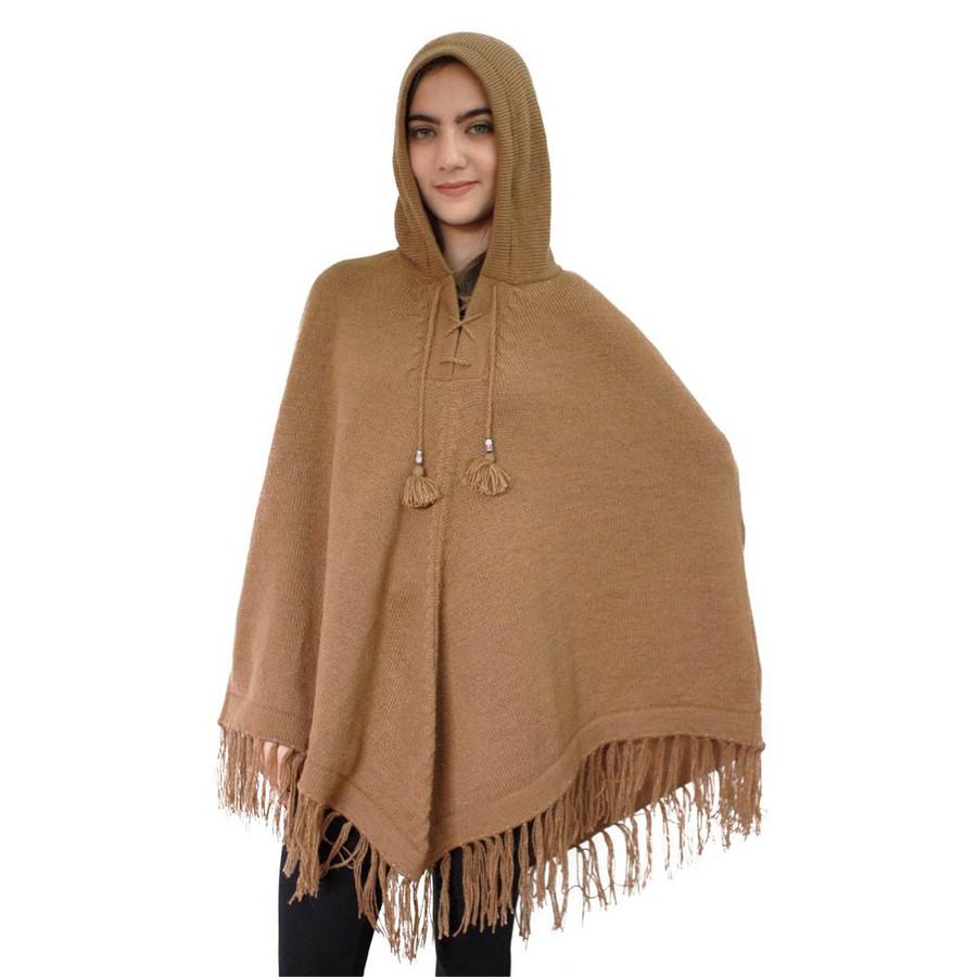 Hooded Alpaca Wool Womens Knit Long Poncho One Size Camel