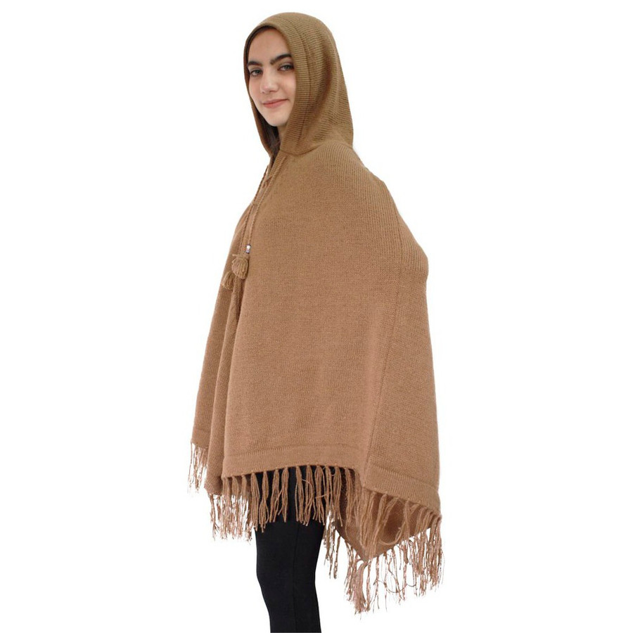 Hooded Alpaca Wool Womens Knit Long Poncho One Size Camel (32T-012-205)