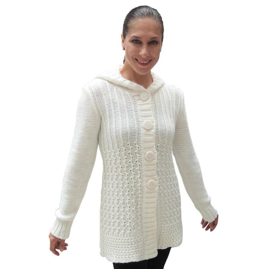 Womens Superfine Alpaca Wool Hooded Coat Size L Ivory