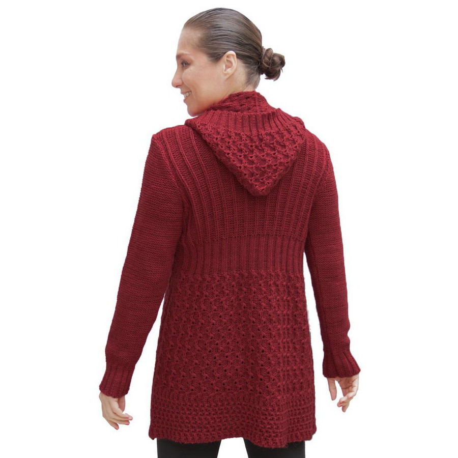 Womens Superfine Alpaca Wool Hooded Coat Size M Red (11C-035-842M)