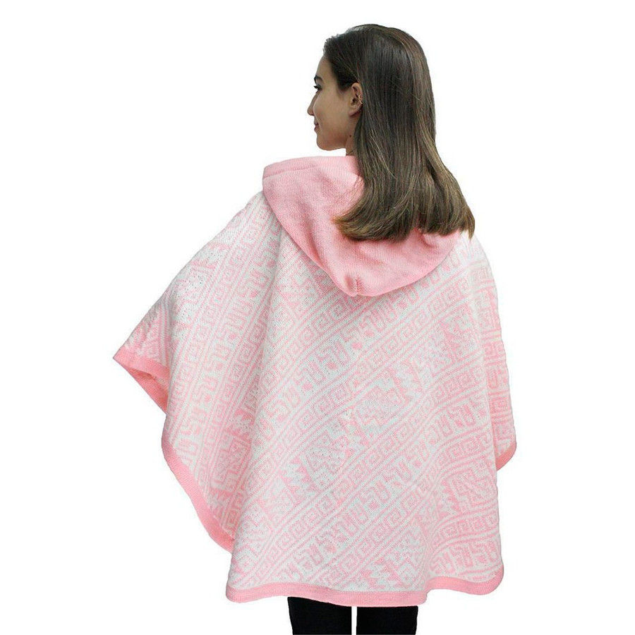 Hooded Alpaca Wool Womens Knit Cape One Size Pink & Ivory (17K-079-013)