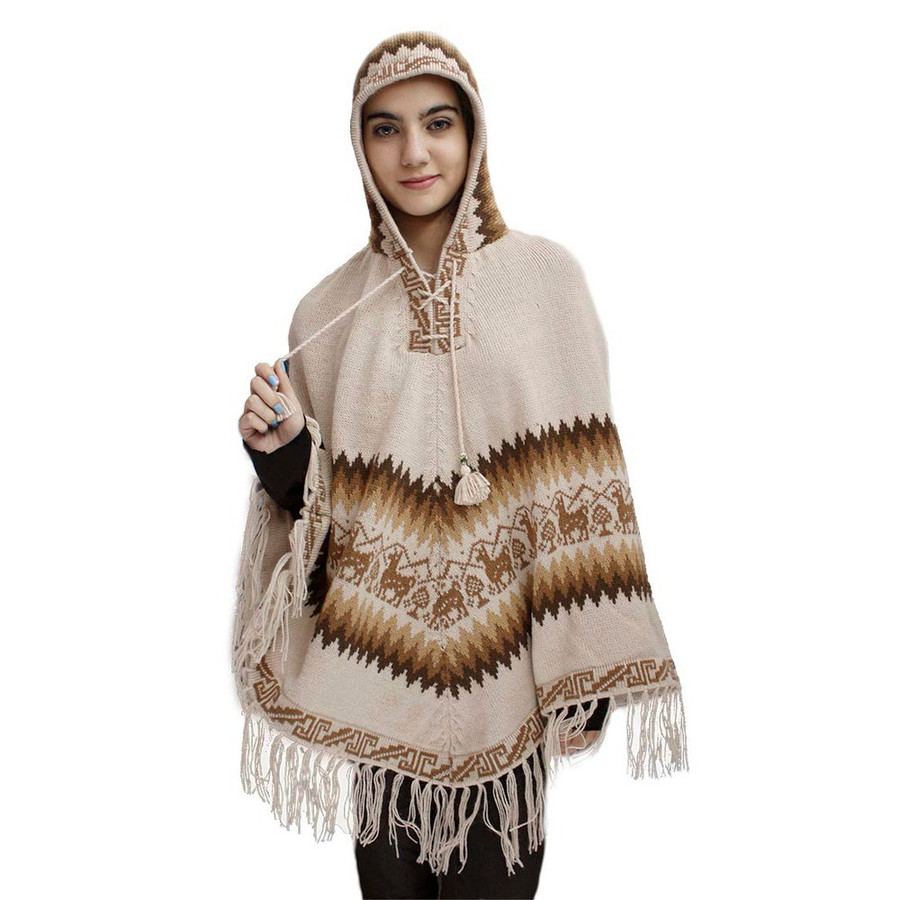 Hooded Little Llamas Alpaca Wool Womens Knit Long Poncho One Size Beige (32V-001-014)