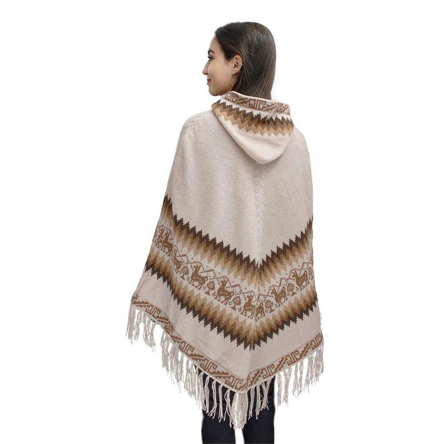 Hooded Little Llamas Alpaca Wool Womens Knit Long Poncho One Size Beige (32V-001-014)