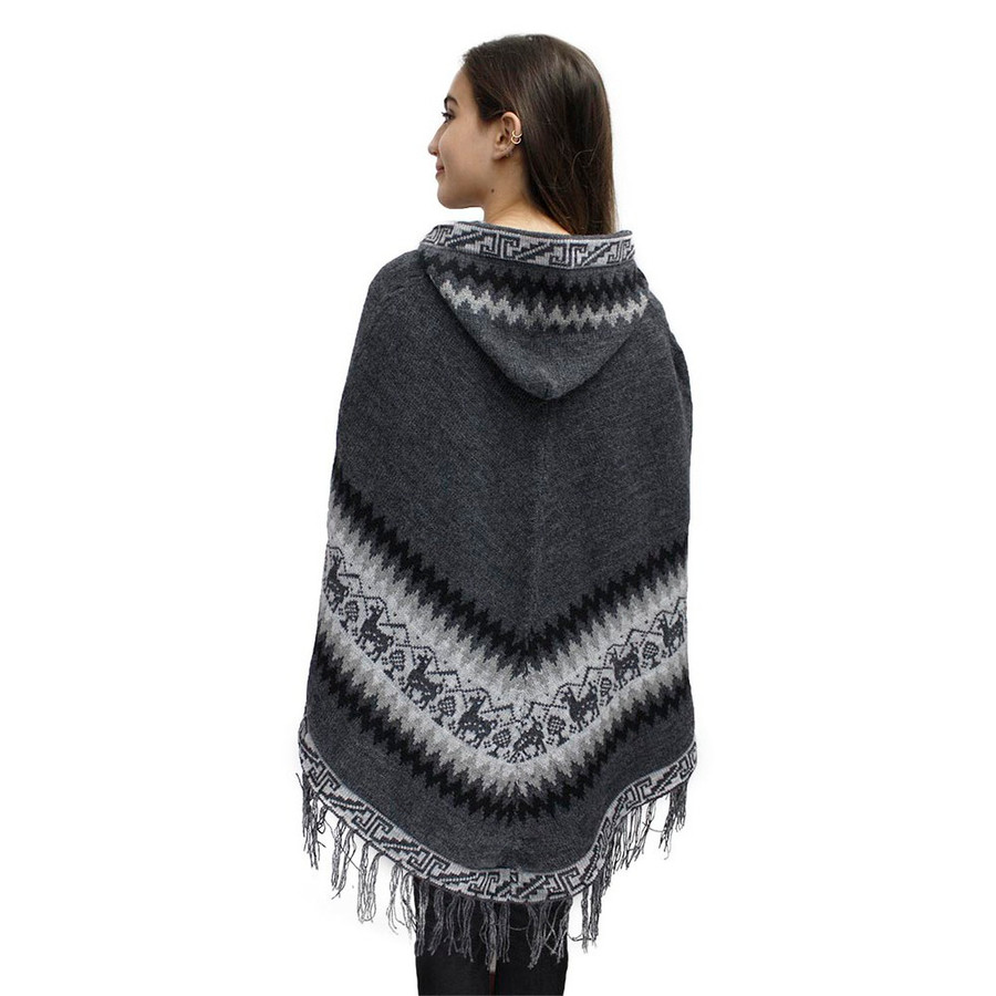 Hooded Little Llamas Alpaca Wool Womens Knit Long Poncho One Size Gray (32V-003-031)