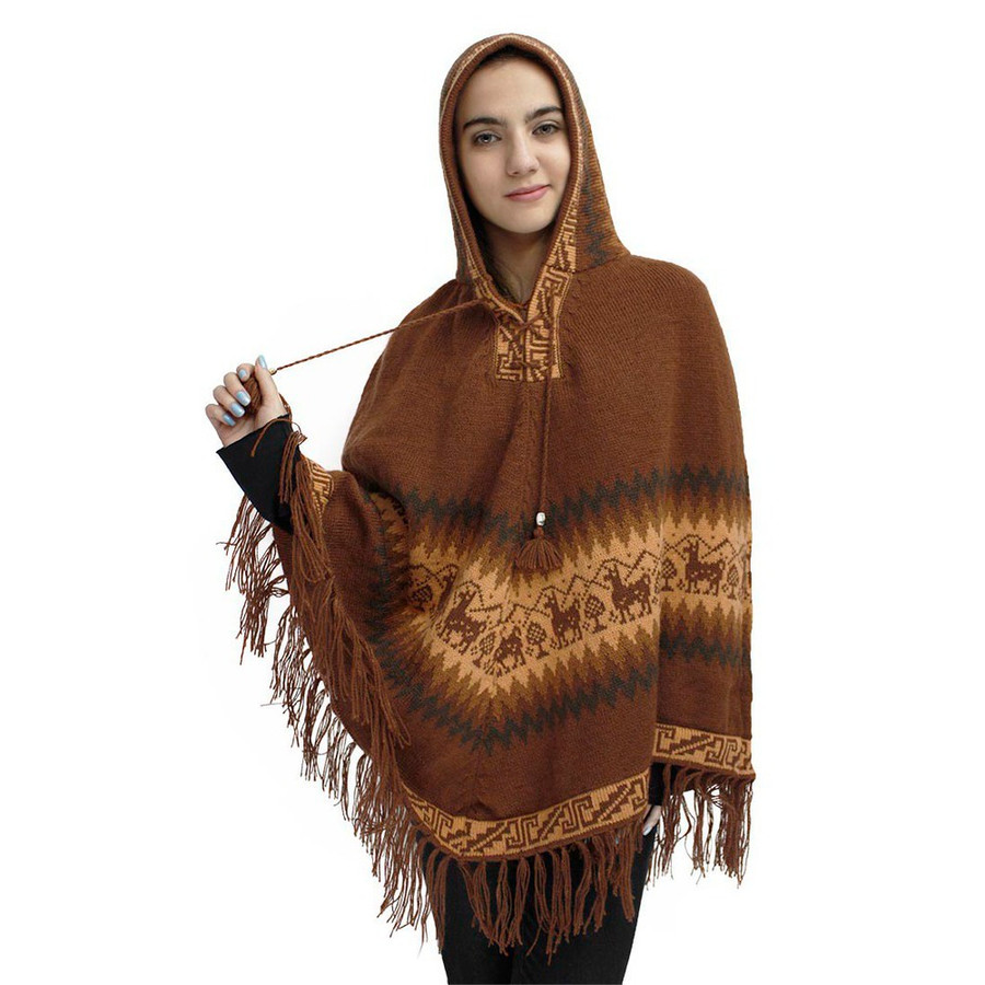 Hooded Little Llamas Alpaca Wool Womens Knit Long Poncho One Size Copper (32V-016-050)