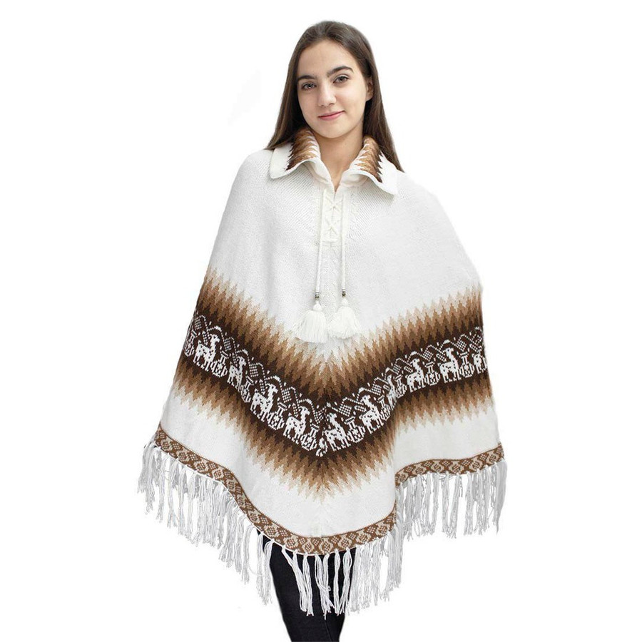 Little Llamas Alpaca Wool Knit Long Poncho With Collar One Size Ivory
