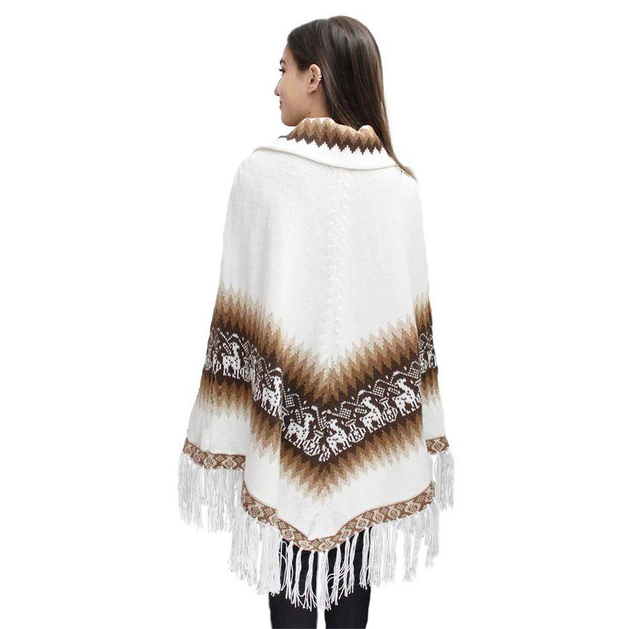 Little Llamas Alpaca Wool Knit Long Poncho With Collar One Size Ivory (32W-013-014)