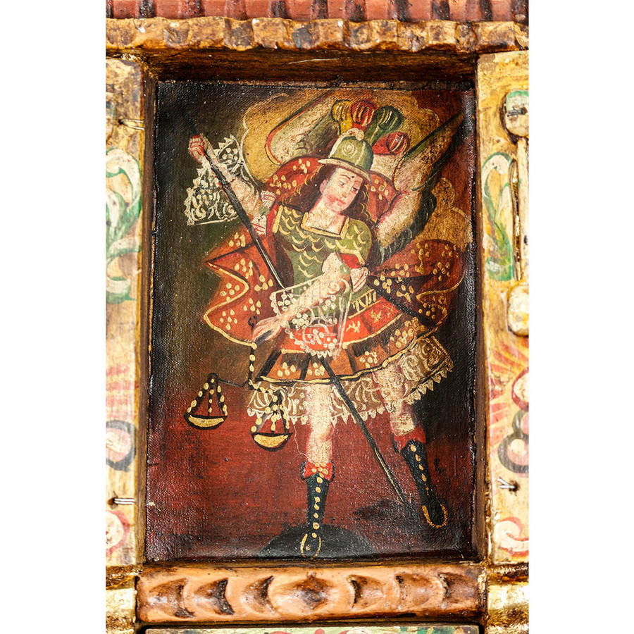 Archangel Michael Colonial Cuzco Peru Handmade Wood Retablo Art Oil Painting (4403)