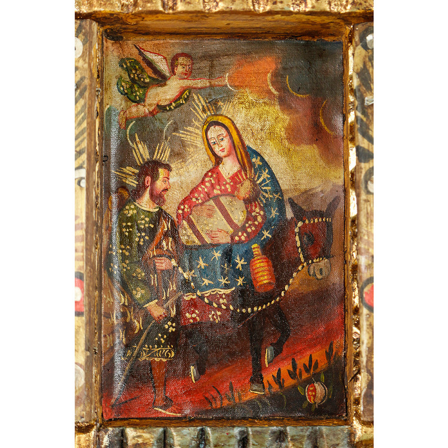 Flight From Egypt Colonial Cuzco Peru Handmade Wood Retablo Art Oil Painting (4414)