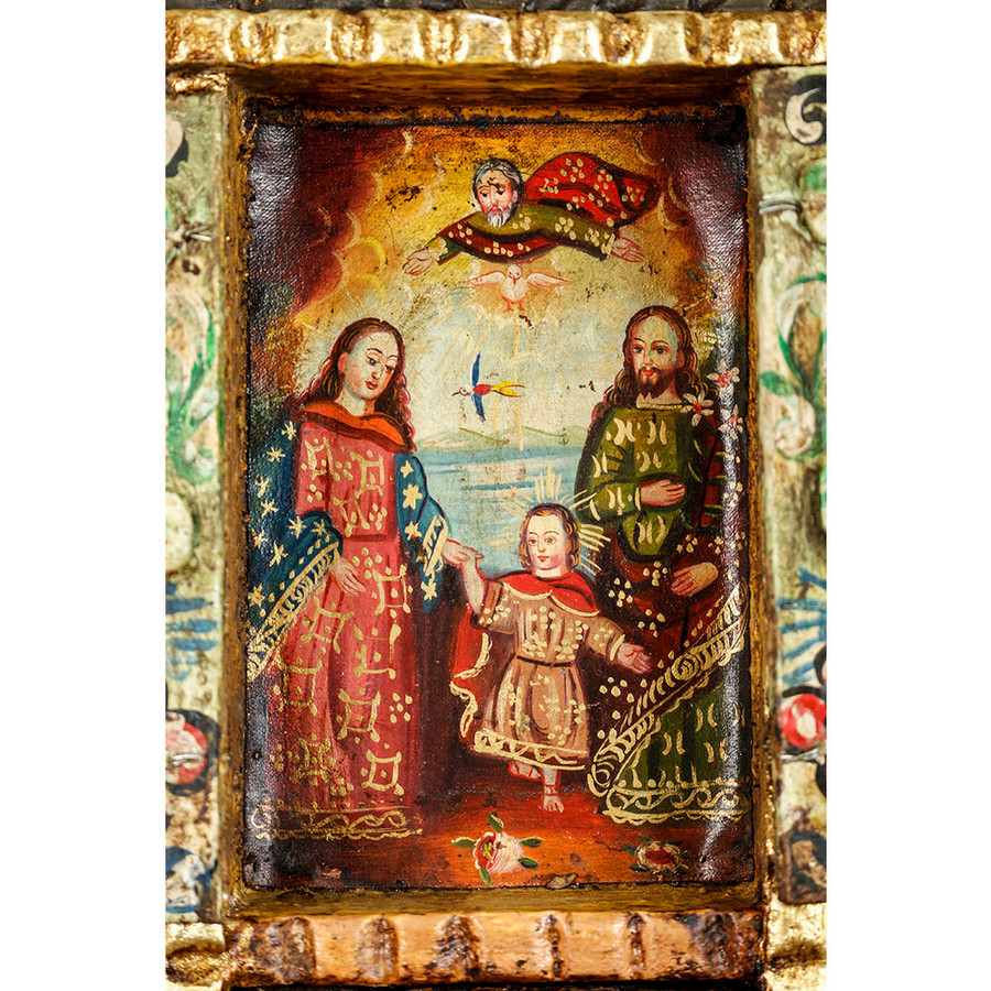 Sacred Family Colonial Cuzco Peru Handmade Wood Retablo Art Framed Oil Painting (4402)