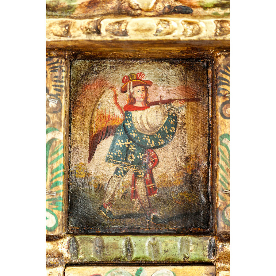 Military Archangel Colonial Cuzco Peru Handmade Wood Retablo Art Oil Painting (4397)