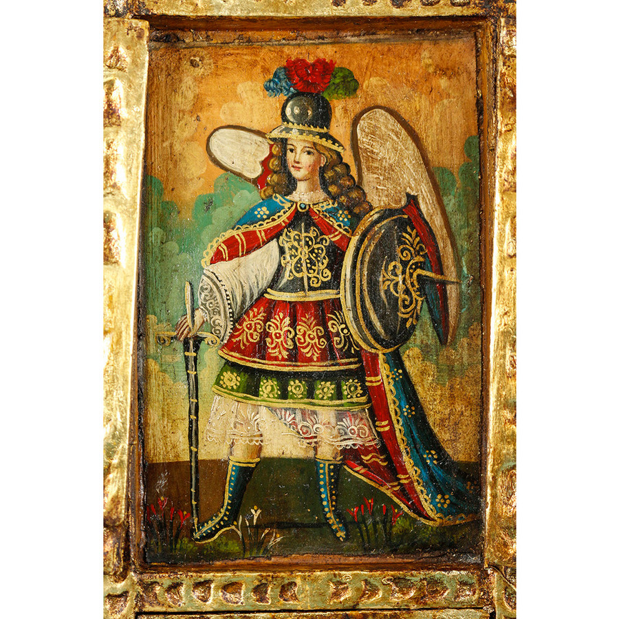 Military Archangel Colonial Cuzco Peru Handmade Wood Retablo Art Oil Painting (4422)