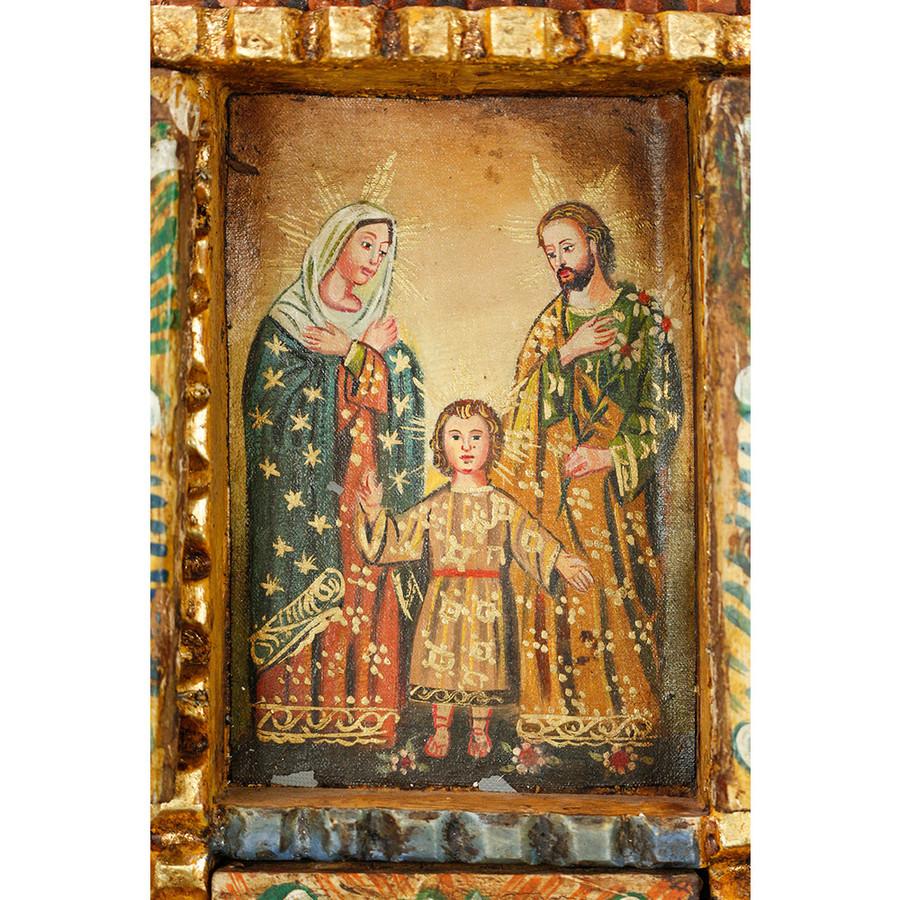 Sacred Holy Family Peru Handmade Retablo Folk Art Oil Painting Wood Altarpiece