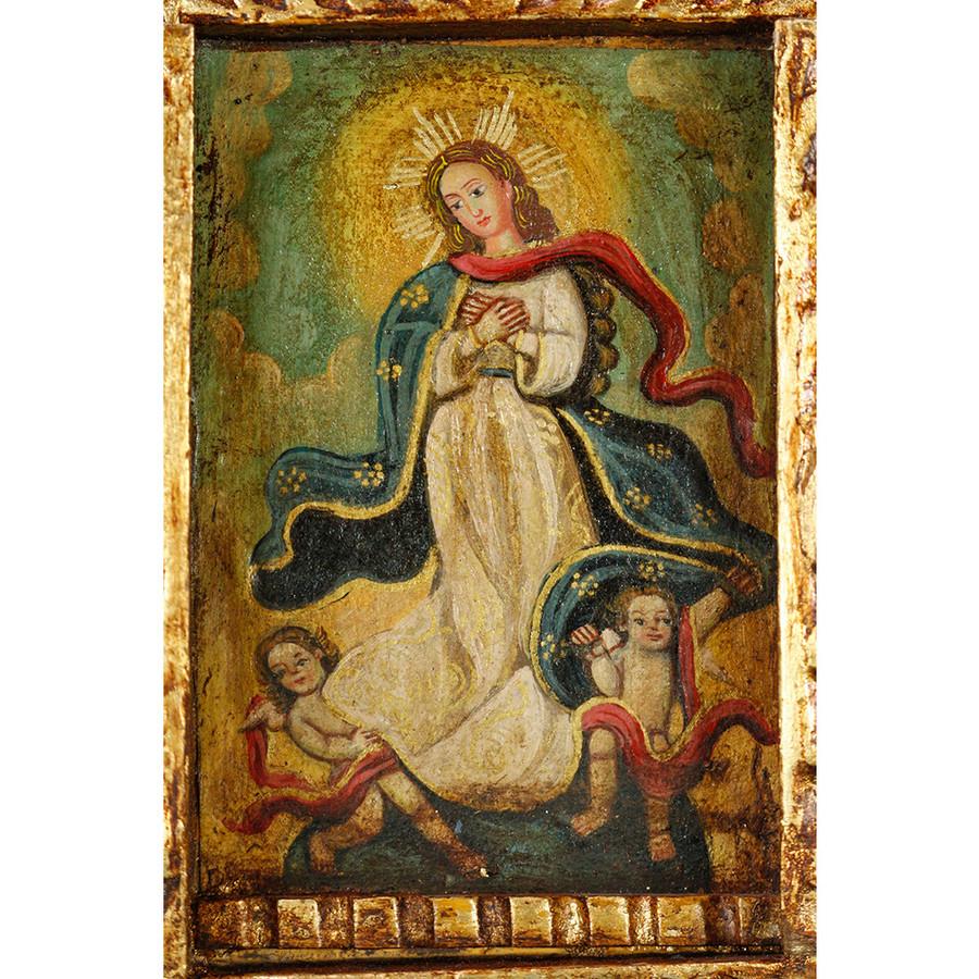 Immaculate Lady Peru Handmade Retablo Folk Art Oil Painting Wood Altarpiece (4474)