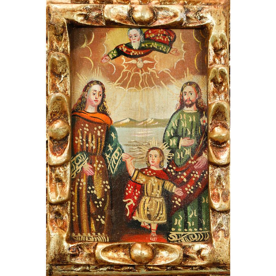 Sacred Holy Family Framed Handcarved Cuzco Peru Folk Art Oil Painting on Canvas