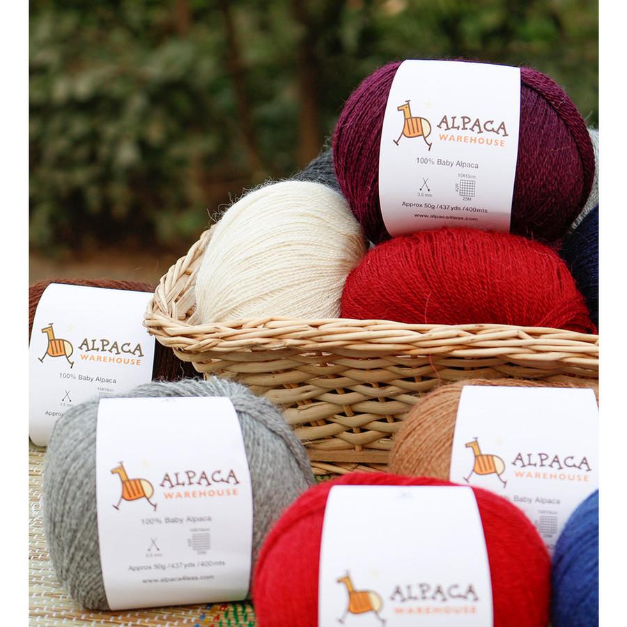 100% Baby Alpaca Yarn Wool Set Of 3 Skeins Lace Weight